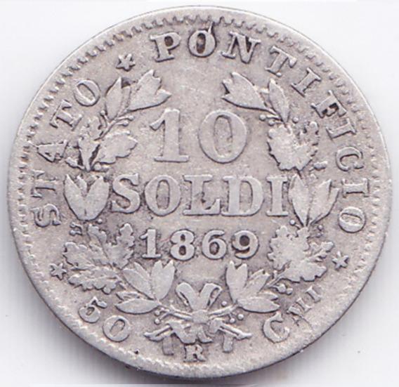 Vaticano Moneda 10 Soldi 1869 R Plata Km# 1386.1 Vf