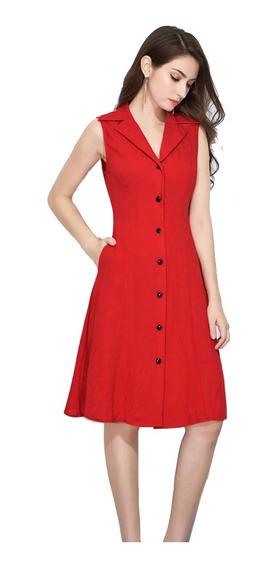 Lindo Vestido Sin Mangas Con Cuello Tipo Camisa De F R37385