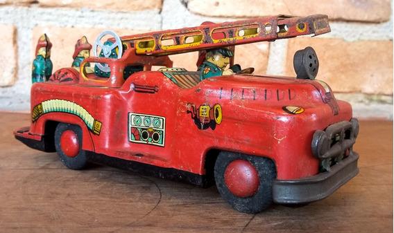 Brinquedo Antigo Japonês T.n Nomura Carro De Bombeiros