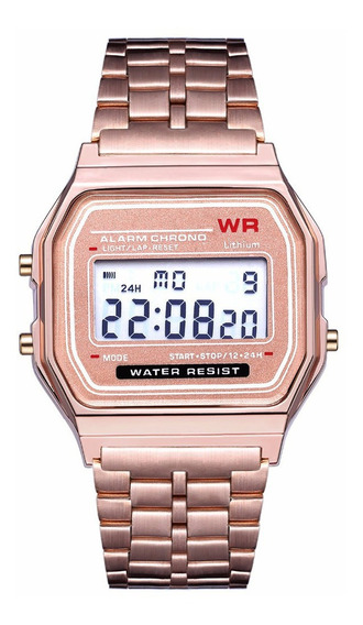Relógio Digital Esportivo Com Pulseira De Aço Inoxidável