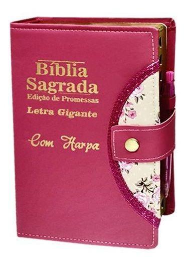 Bíblia Sagrada Letra Gigante - Pink - Botão, Caneta E Harpa