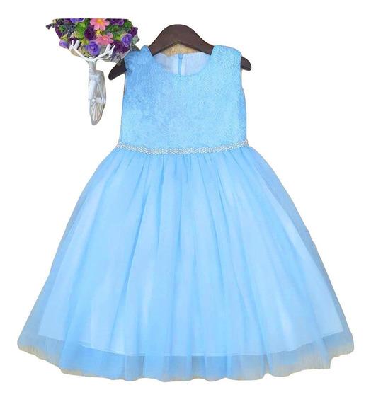 Vestido Importado De Nena Con Tull Fiesta Cumpleaño Comunio