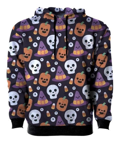 Casaco Blusa Moletom Canguru Halloween Skull Abobora Bruxas