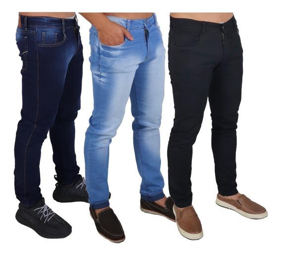 Lote 3 Calça Jeans Sarja Masculina Slim Skinny C Lycra