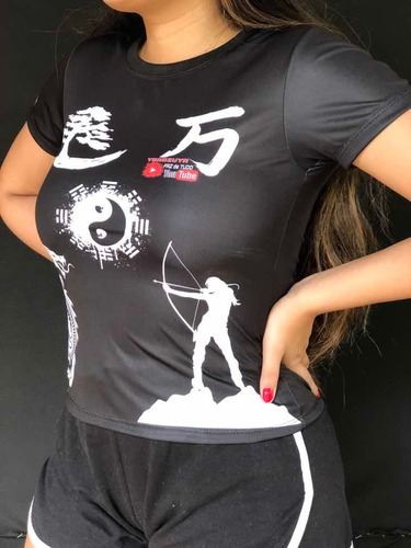 Imagem 1 de 7 de Camiseta Camisa Blusa Dry 35% P. Uv Baby Look - Yorozuya