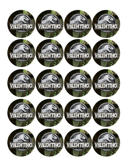 Jurassic World Plancha Candy Bar Sticker Impreso Toppers