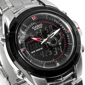 Relógio Casio Edifice Efa-119bk-1av Pulseira Aço Termômetro