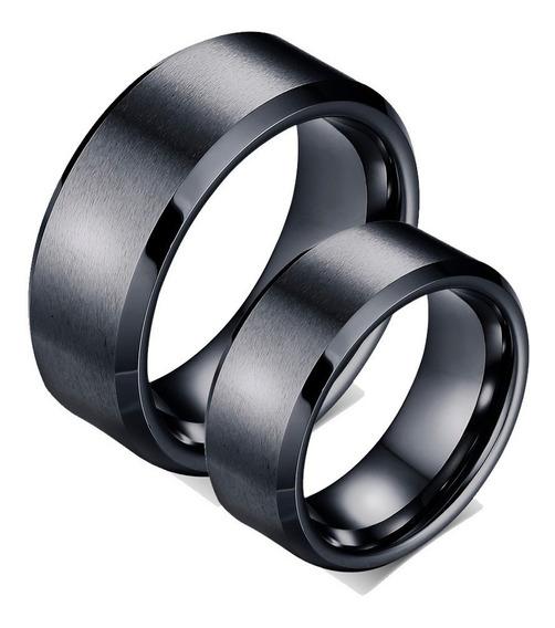 Par Anéis Alianças Tungstênio Ródio Negro Chanfrada 8mm