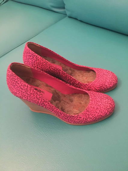Sapato De Salto Onça Pink Ramarim Total Conforto