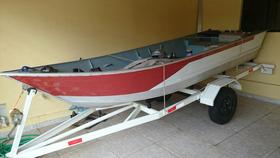 Barco Alumínio 5 Metros Com Carreta E Motor Inverude 15 Hp