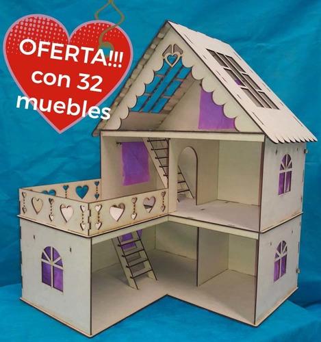 Casita De Muñeca Fibrofacil + 20 Muebles Oferta