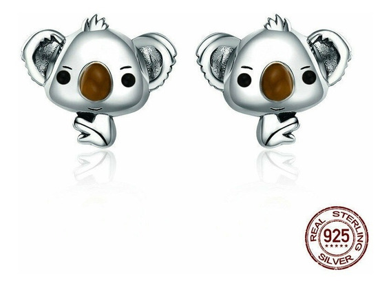 Arete-broquel Koala Plata .925