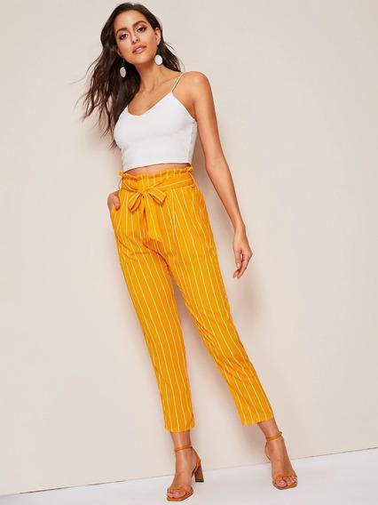 Pantalones Con Cinturón A Rayas Amarillo Y Blanco - Mujer W