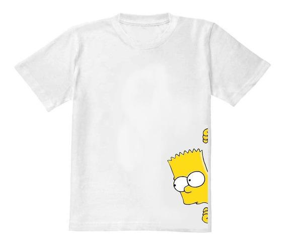 Camisa Camiseta Bart Simpson Branca