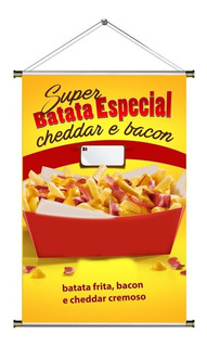 Banner De Batata Frita, Cheddar E Bacon Especial - 60x90cm