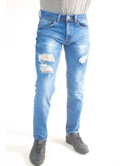 Pantalón Skinny Mezclilla Destrucción De Hombre Envío Gratis