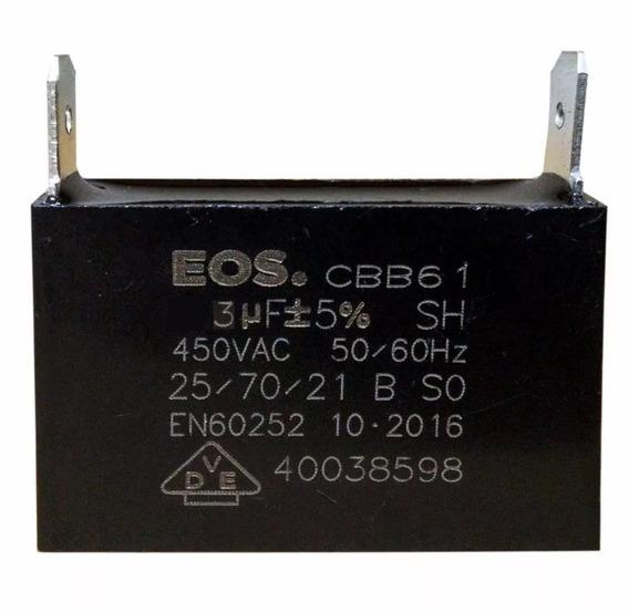 Capacitor 3uf 450vac Cbb61 P/ Ar Condicionado E Uso Geral