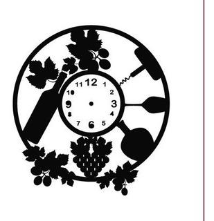 Reloj Vino Uvas Copa Vector Para Corte Archivo Digital