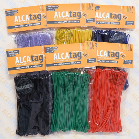 Alça Tag Bagagem Silicone 16 Cm Cordões Coloridos 100 Und