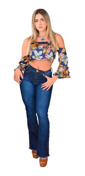 Calça Flare Feminina Jeans Cintura Alta Levanta Bumbum Ofert