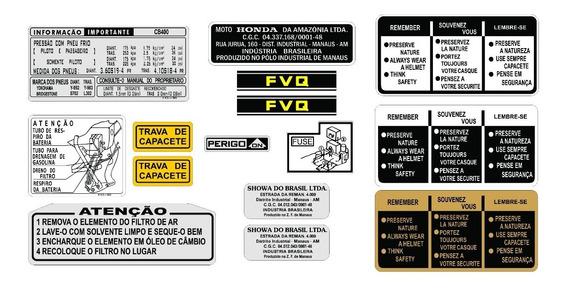 Cb 400 - 1982 - Adesivos De Advertência - Honda - F Grátis