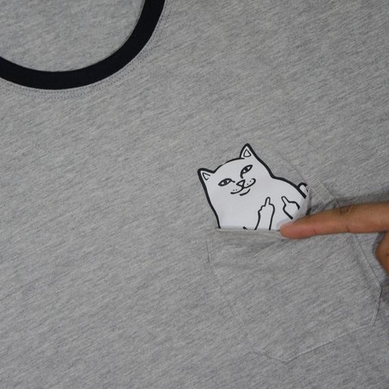 Camisa Gato Mostrando O Dedo Bolso Gatinho Tumblr Blusa