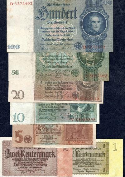 Reichsmark - Terceiro Reich - Alemanha Nazista - 7 Cédulas