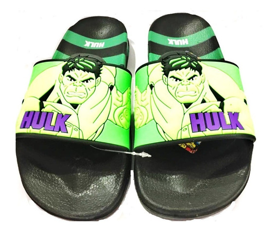 Ojotas Marvel Hulk Comics Verde/negro Fty Calzados