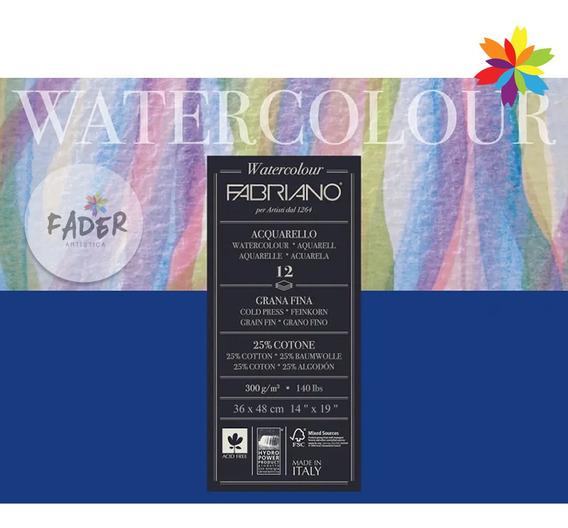 Block Fabriano Watercolor 300grs. 12 Hojas 25% Algodon 36x48