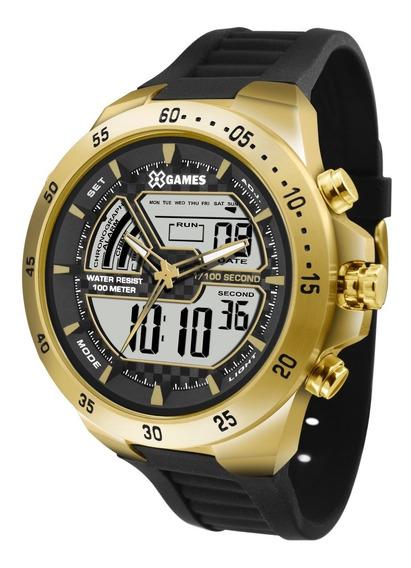 Relógio X-games Masculino Anadigi Xmspa021 Bxpx Dourado Aço