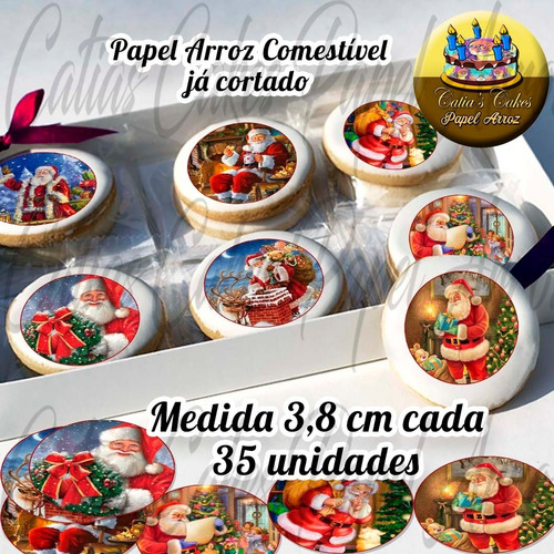 Natal Papel De Arroz Redondo Com 3,8 Cm 35 Unidades