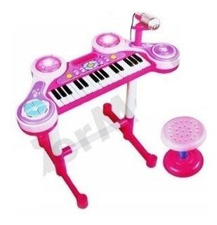Organeta Juguete Piano Karaoke Microfono Azul O Rosada Luces