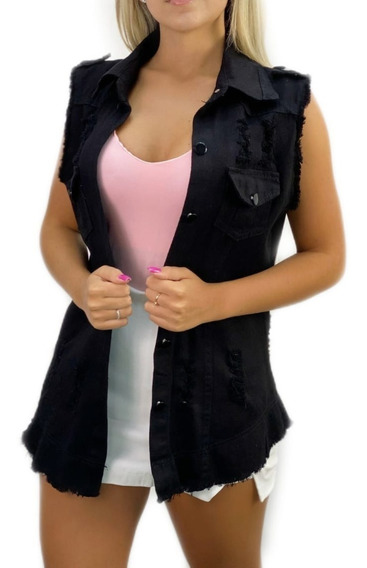Max Colete Jeans Feminino Colors Trend Colorido Destroyed