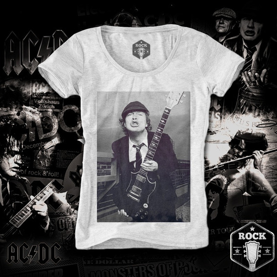 Remera Ac Dc Angus Young Black And White Mujer