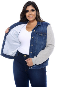 Jaqueta Plus Size Jeans & Moletom Forrada