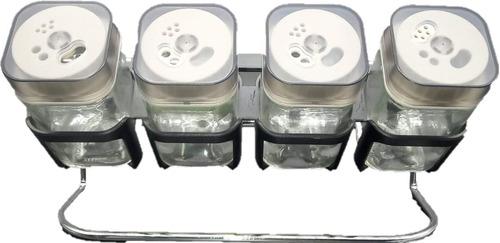 Especieros Condimenteros X4 Unidades + Base Con Soporte