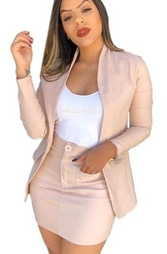 Conjunto Blusa Blazer + Saia Cintura Alta Roupas Femininas