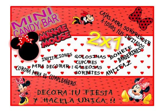 Kit Imprimible Mini Candy Bar Minnie Roja! 2x1 Imperdible