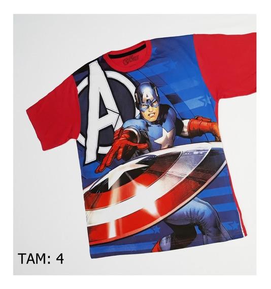 Camiseta Infantil Super Herois Capitão America Post. Em 3 Hs