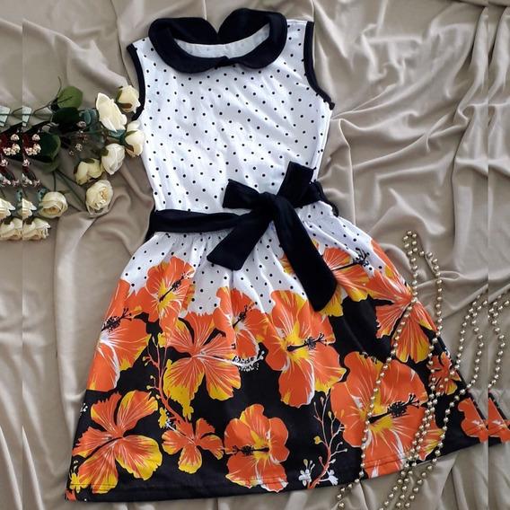 Vestido Infantil De Festa Para Menina Florido Laço Verão