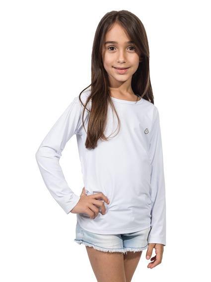 Camiseta Uv Infantil Feminina Com Proteção Solar Ice Line