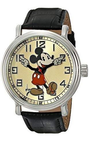 Reloj Disney 56109 Vintage Mickey Mouse Con Cuero P/hombre