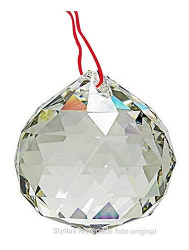 Bola Cristal Asfour Esfera Feng Shui 3,0 Cm Lustres Com Fio