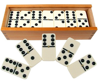 Domino En Caja De Madera Fichas Madera Hueso Chico