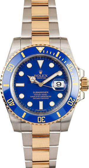 Relógio Mji889 Submariner Azul Pulseira Aço Mista Inox