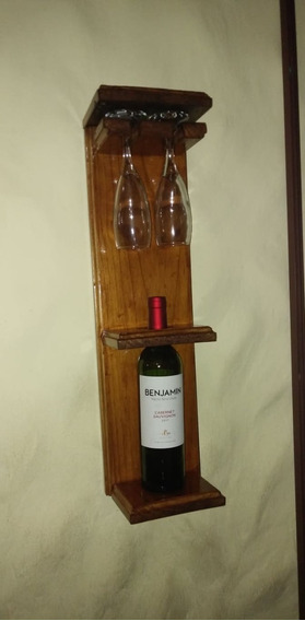 Porta Vino Copas Colgante Pared Madera Bar