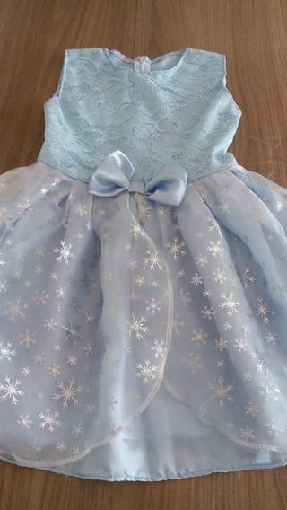Vestido Temático Elsa, Para Crianças De 4 A 6 Anos