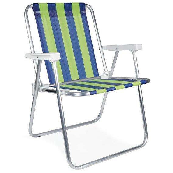 Cadeira De Praia Dobrável Em Alumínio Azul E Verde Mor