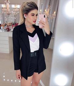 Conjunto Feminino Blazer + Short Cintura Alta Moda Inverno