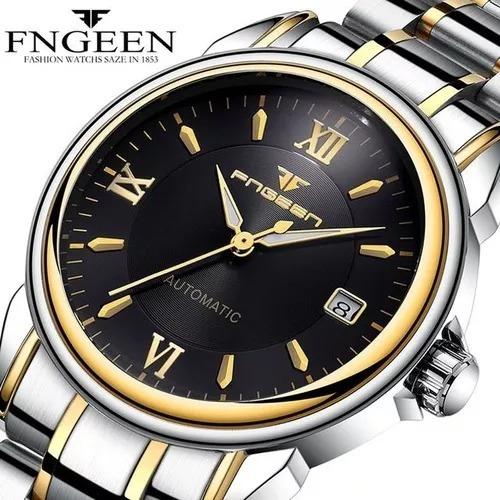 Relógio Fngeen Automático Luxo Com Detalhes Dourado